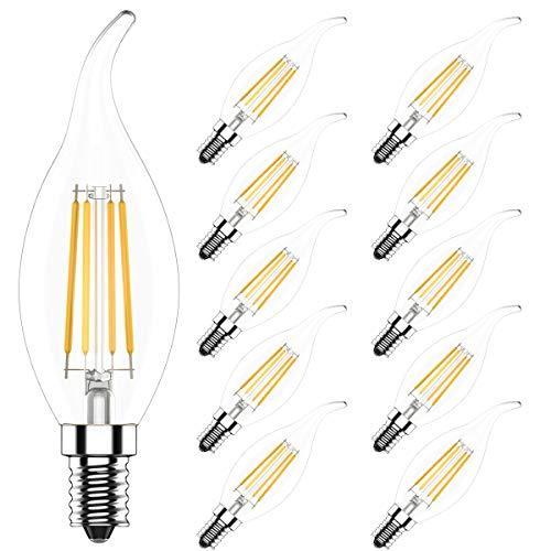 10x Lampadina LED E14 Vintage Candela Dimmerabile Luce Calda 2700K,4W Equivalenti a 40W,400LM,CRI>80,AC 220V