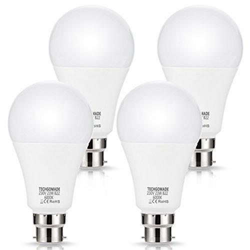 4 lampadine a LED B22 23W A65, 2500LM, equivalente TECHGOMADE 200W, lampadine a baionetta, bianco giorno 6000 K, non dimmerabili, per garage, soggiorno, cortile, cucina..., Bianco giorno, 23W, B22