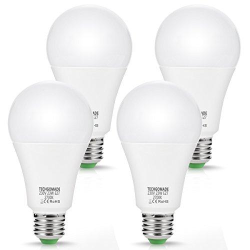 4X 23W E27 LED Lampadine, lampadine Techgomade A65, 200W equivalenti, 2500LM, bianca calda 2700K, lampadina a LED a risparmio energetico, non dimmerabile, per garage, soggiorno, hotel