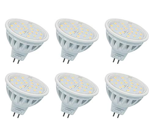 5.5W MR16 Lampadina LED Gu5.3 Faretti,Bianco Caldo 3000K,Equivalente 60W,600LM DC12V Ra85,6 Pezzi.