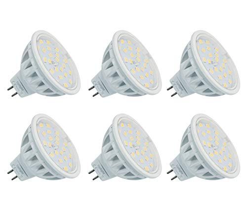 5.5W MR16 Lampadina LED Gu5.3 Faretti,Bianco Naturale 4000K,Equivalente 60W,600LM DC12V Ra85,6 Pezzi.