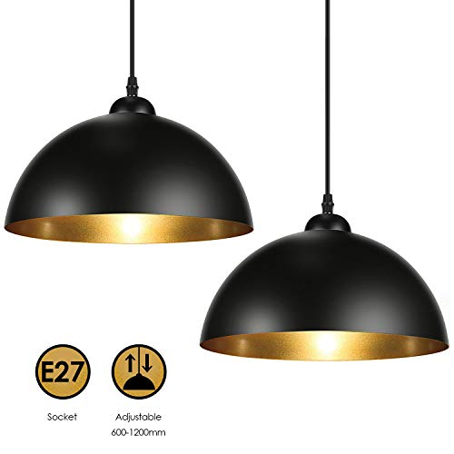 Albrillo Lampadari a Sospensione Vintage Industriale, diametro 30cm, per lampadine LED E27, Lampada Moderna da Soffitto per Salotto, Soggiorno, Ristorante, Paralume in Metallo Nero e Oro, IP20, 2PCS