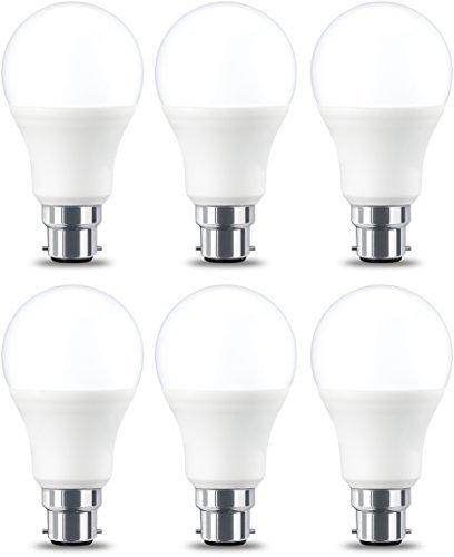 AmazonBasics Lampadina LED B22 a baionetta cappuccio, 9W (equivalente a 60W), [Classe energetica A+], Luce Bianca Calda, Non Dimmerabile - Pacco da 6