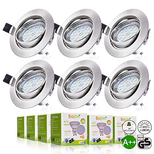 Bojim 6 x Faretti LED da incasso per cartongesso GU10 6W, Lamapda da Soffitto, Lampada a Risparmio Energico AC 220-240V Luce Bianco 4500K 600LM Angolo a Fascio 120 Gradi 82Ra Non Dimmerabile
