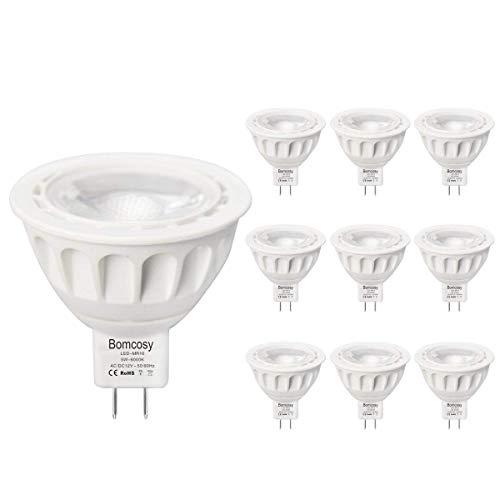 Bomcosy Lampadina LED GU5.3 MR16 12V Luce Bianca Fredda 6000K 5W Equivalente 50 W Lampada Alogena 420lm Angolo a Fascio 35 Gradi Non DimmerabileConfezione da 10