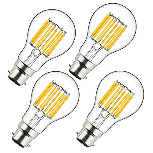 Bonlux - Lampadina LED a filamento, Bianco naturale., 4-pack 10w b22 a60 non-dim, B22d