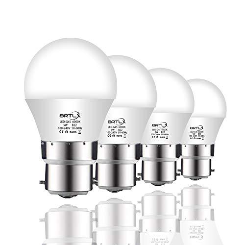 BRTLX Lampadina LED B22, 5W equivalenti a 45W, Bianco freddo 6000K, 220° Angolo a fascio, 400LM - Pacco da 4