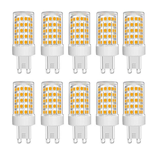 Confezione da 10 Lampadine a LED G9 da 10W equivalenti a 100W Alogene, 86 LED, 1000Lm, Angolo di Diffusione 360°, Ultra Luminose, AC 220-240V, Non Dimmerabile, 3000K Bianco Caldo