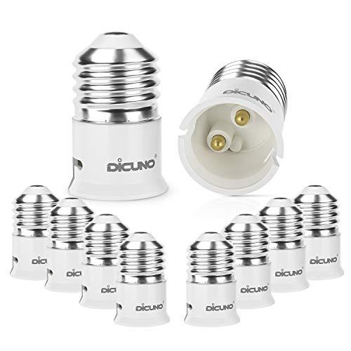 DiCUNO 10-Pack E27 a B22 Socket Converter Socket Adapter Adattatore di base per lampada di alta qualità per lampadine a LED e lampadine a incandescenza e lampadine CFL