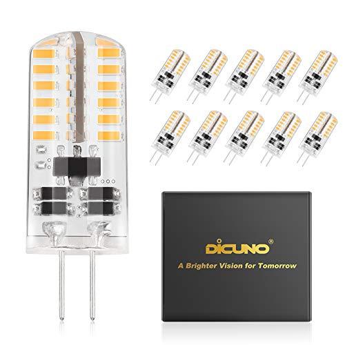 DiCUNO 10-Pack G4 3W LED Lampadina, Lampada alogena di ricambio 20-25W, AC/DC 12V, Bianco caldo 3000K, 230LM, Non dimmerabile, Risparmio energetico, angolo del fascio di 360 °