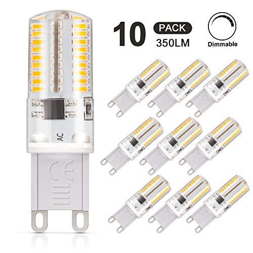 DiCUNO 10-Pack G9 3W LED Lampadina, Lampada alogena di ricambio 30W, 220V, Bianco caldo 3000K, 350LM, Dimmerabile, Risparmio energetico, angolo del fascio di 360 °