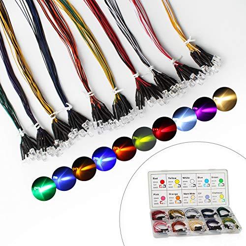 DiCUNO 100 pezzi (10 colori × 10 pezzi) Diodi LED Pre-cablato da 5 mm Luce 12V 24cm Pre Wired diodi per Carro Giocattoli Automobile