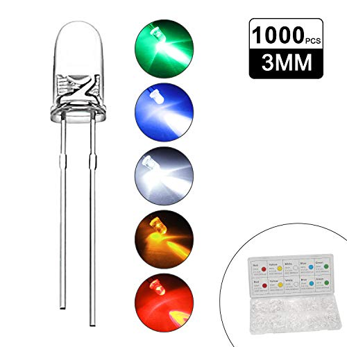DiCUNO 1000pcs(5 Couleurs x 200pcs) 3mm Bi-pin Diodo ad emissione luminosa, Testa rotonda trasparente, Alta luminosità lampada a LED, 5 colori (Bianco/Rosso/Giallo/Verde/Blu)
