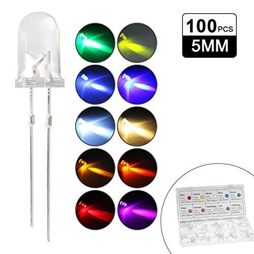 DiCUNO 100pcs(10 Couleurs x 10pcs) 5mm Bi-pin Diodi LED, Testa rotonda trasparente, Alta luminosità lampada a LED,(Bianco/Rosso/Giallo/Verde/Blu/Rosa/Arancio/Bianco caldo/UV/Chartreuse)