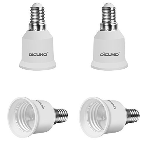 DiCUNO 4-Pack E14 a E27 Socket Converter Socket Adapter Adattatore di base per lampada di alta qualità per lampadine a LED e lampadine a incandescenza e lampadine CFL