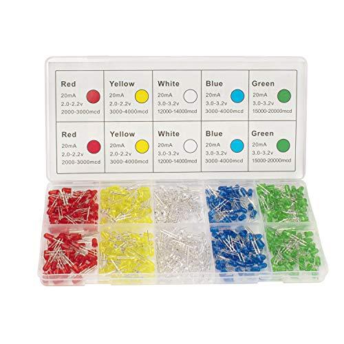 DiCUNO 450pcs(5 Couleurs x 90pcs) 5mm Bi-pin Diodo ad emissione luminosa, Testa rotonda colorata, Alta luminosità lampada a LED, 5 colori (Bianco/Rosso/Giallo/Verde/Blu)