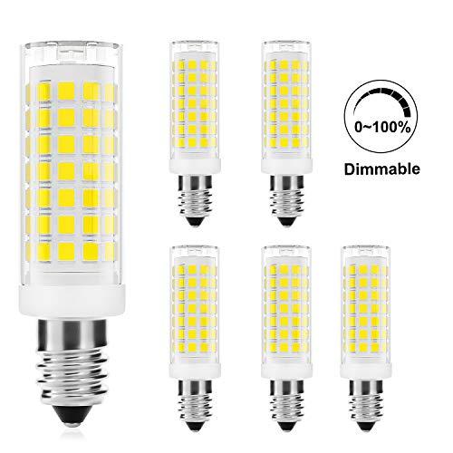 DiCUNO E14 4W LED Lampadina dimmerabile, Bianco freddo 5000K, 430LM, 220V, Forno a microonde, Lampadine alogene equivalenti da 40W, Base E14 standard, 6 pezzi