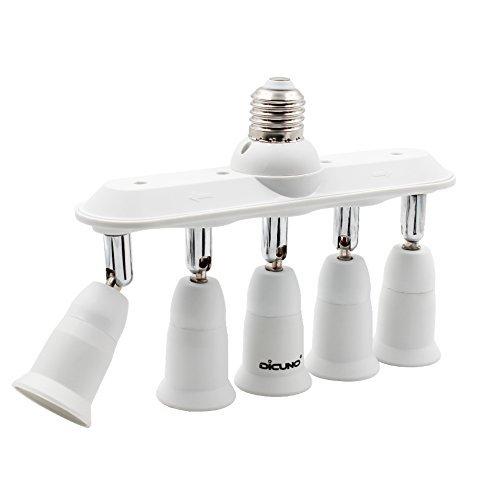 DiCUNO E27 5 en 1 Socket adattatore splitter, E27 Lampadina LED Standard, Supporto del convertitore, Presa per lampadario con 360 gradi regolabile a 180 °