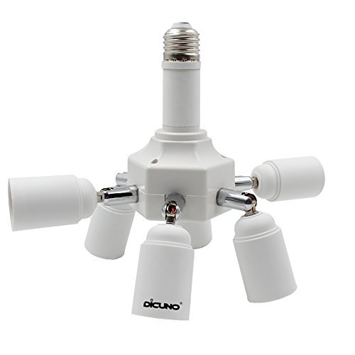 DiCUNO E27 7 en 1 Socket adattatore splitter, E27 Lampadina LED Standard, Supporto del convertitore, Presa per lampadario con 360 gradi regolabile a 180 °