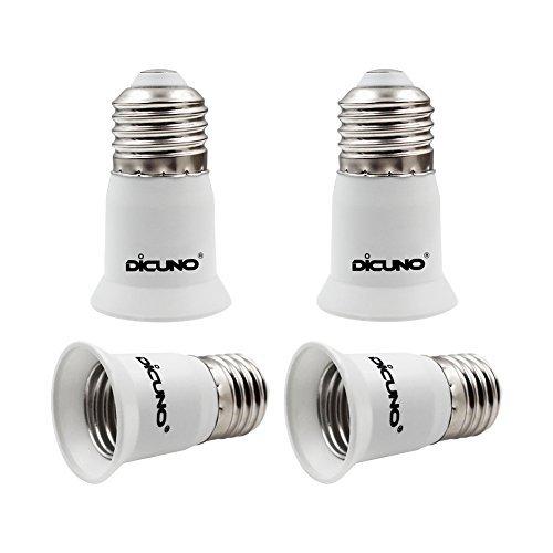 DiCUNO E27 Portalampada 3 CM extension, Da E27 a E27 Prolunga per presa lampada standard, Estensione della lampadina, Adattatore per portalampada, Pacchetto di 4