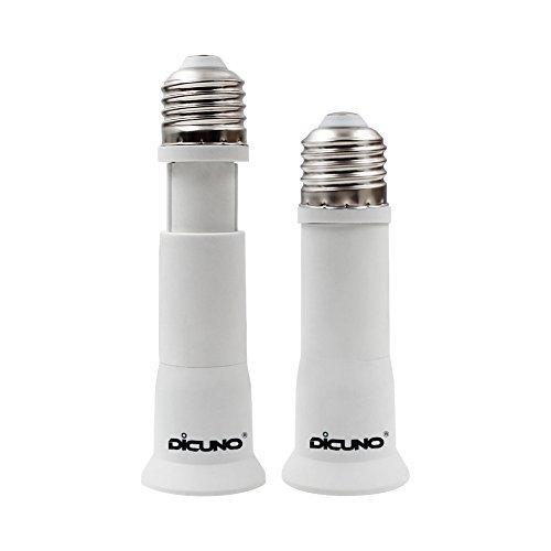 DiCUNO E27 Portalampada 8-10 CM extension, Da E27 a E27 Prolunga per presa lampada standard, Estensione della lampadina, Adattatore per portalampada, Pacchetto di 2