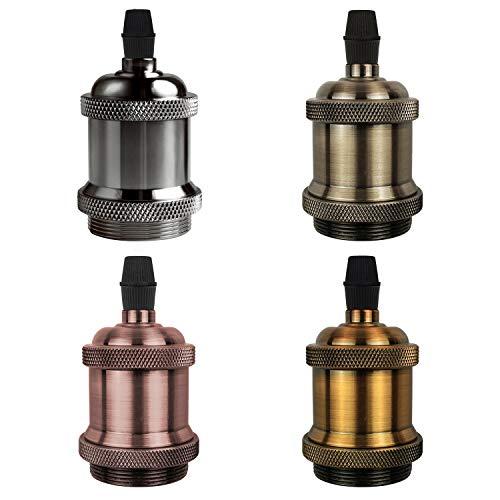 DiCUNO E27 Vintage Portalampada, Edison retro lampada a sospensione, Adattatore in ceramica solida, 4 Pezzi di multicolore socket