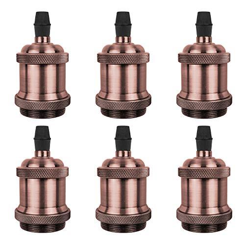 DiCUNO E27 Vintage Portalampada, Edison retro lampada a sospensione, Adattatore in ceramica solida, 6 Pezzi di rame rosso socket
