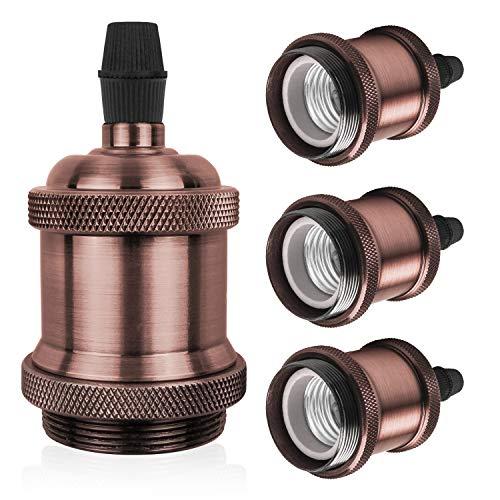DiCUNO E27 Vintage Portalampada, Edison retro lampada a sospensione, Adattatore in ceramica solida, 4 Pezzi di rame rosso socket