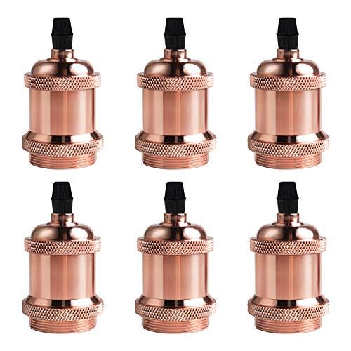 DiCUNO E27 Vintage Portalampada, Edison retro lampada a sospensione, Adattatore in ceramica solida, 6 Pezzi di oro rosa socket