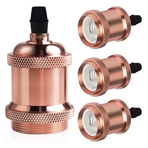 DiCUNO E27 Vintage Portalampada, Edison retro lampada a sospensione, Adattatore in ceramica solida, 4 Pezzi di oro rosa socket