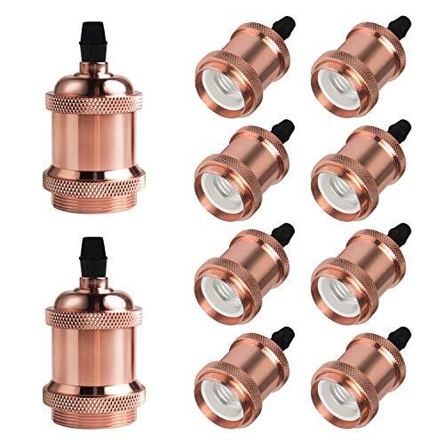 DiCUNO E27 Vintage Portalampada, Edison retro lampada a sospensione, Adattatore in ceramica solida, 10 Pezzi di oro rosa socket