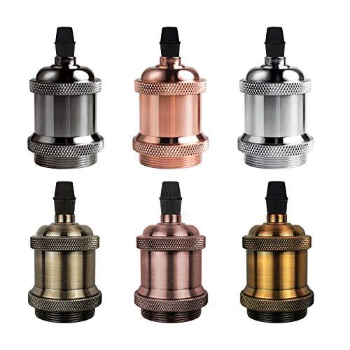 DiCUNO E27 Vintage Portalampada, Edison retro lampada a sospensione, Adattatore in ceramica solida, 6 Pezzi di multicolore socket