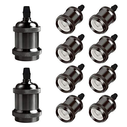 DiCUNO E27 Vintage Portalampada, Edison retro lampada a sospensione, Adattatore in ceramica solida, 10 Pezzi di perle nere socket