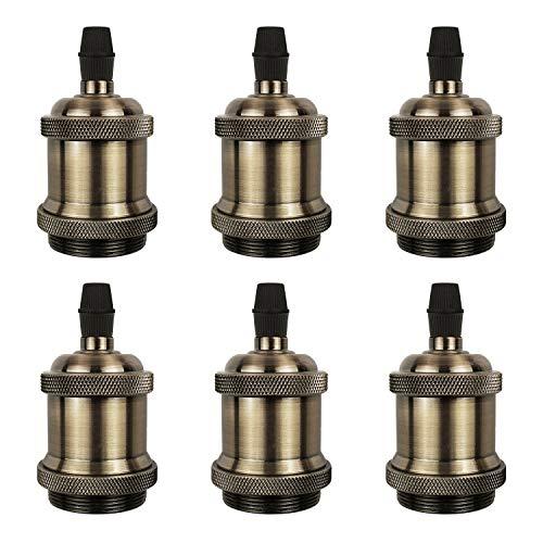 DiCUNO E27 Vintage Portalampada, Edison retro lampada a sospensione, Adattatore in ceramica solida, 6 Pezzi di champagne oro socket