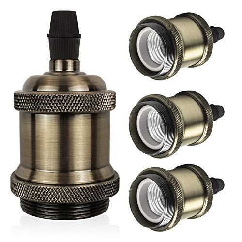 DiCUNO E27 Vintage Portalampada, Edison retro lampada a sospensione, Adattatore in ceramica solida, 4 Pezzi di champagne oro socket