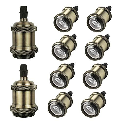 DiCUNO E27 Vintage Portalampada, Edison retro lampada a sospensione, Adattatore in ceramica solida, 10 Pezzi di champagne oro socket