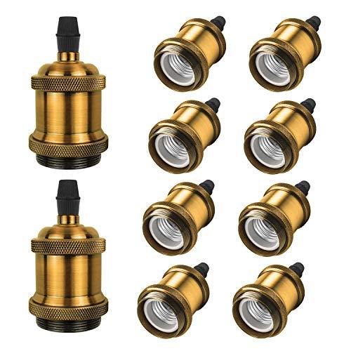 DiCUNO E27 Vintage Portalampada, Edison retro lampada a sospensione, Adattatore in ceramica solida, 10 Pezzi di ottone vintage socket