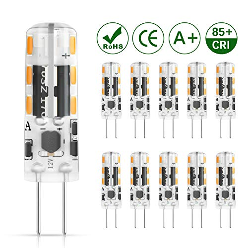 DiCUNO G4 LED Lampadina 10 × 1.2W 24 * 3014 Equivalente da 10W alogena, AC/DC 12V, Bianco caldo 3000K, 120LM, Non-dimmerabile, Risparmio energetico