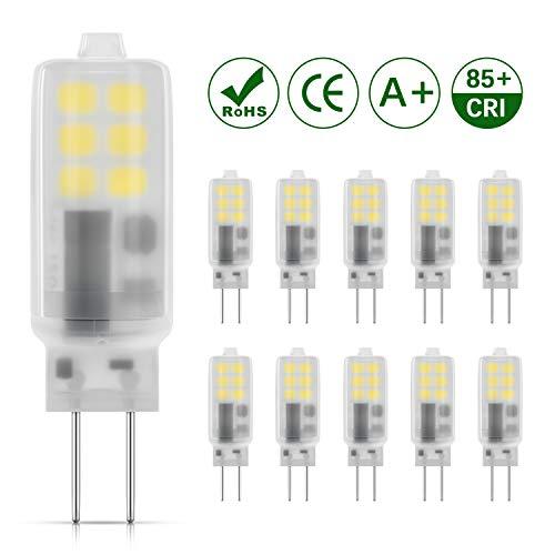 DiCUNO G4 LED Lampadina 10 × 2W 12 * 2835 Sostitutive Alogena 25W, AC/DC 12V, Bianco freddo 6000K, 230LM, Non-dimmerabile, Risparmio energetico