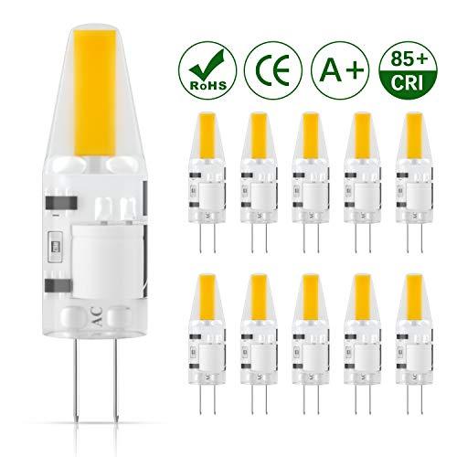 DiCUNO G4 LED Lampadina 10 × 2W COB 1 * 1505 Equivalente da 20W alogena, Non-dimmerabile, AC/DC 12V, Bianco caldo 3000K, 200LM, Risparmio energetico