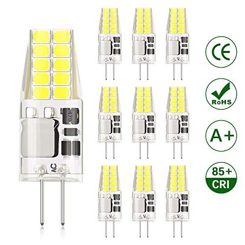 DiCUNO G4 LED Lampadina 3W 20 * 2835 Sostitutive Alogena 30W, Non-dimmerabile, AC/DC 12V, Bianco freddo 6000K, 300LM, Risparmio energetico - Lotto di 10