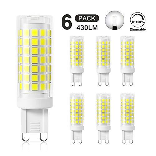 DiCUNO G9 4W LED Lampadina, Equivalente di Lampadine Alogene da 40W, Dimmerabile 430LM 220V, Bianco freddo 5000K, 360° Angolo a Fascio, Confezione da 6