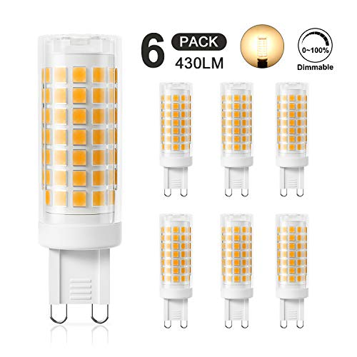 DiCUNO G9 4W LED Lampadina, Equivalente di Lampadine Alogene da 40W, Dimmerabile 430LM 220V, Bianco Caldo 3000K, 360° Angolo a Fascio, Confezione da 6
