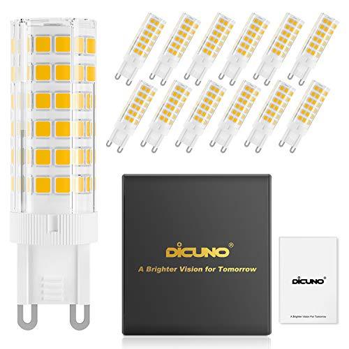 DiCUNO G9 6W Dimmerabile LED lampadina, Sostituire lampada alogena da 60 W, 220-240V, Bianco caldo 3000K, 550LM, Risparmio energetico, angolo del fascio di 360 °, Confezione da 12