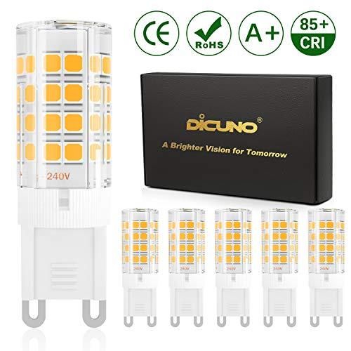 DiCUNO G9 LED Lampadine del 4W (Equivalente a 40W Lampada Alogena), 450LM, Bianco caldo 3000K, AC100-240V, Non-dimmerabile, Risparmio energetico, Base in ceramica, G9 standard, Confezione da 6
