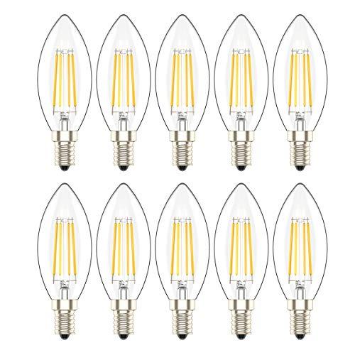 E14 LED Lampadina a Candela 4W,Bianco caldo 2700 K, 300 LM, Equivalente a Lampade ad Incandescenza da 30W, C35 SES LED Lampadine a Vite Edison Piccola,10 Pezzi