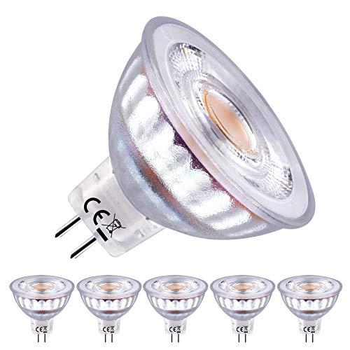 EACLL Lampadine LED GU5.3 2700K Bianco Caldo 5W 460 Lumen Equivalenti a 50W Lampada Alogeno. 36 ° Faretto Luce Bianca Calda Spotlight LED, 5 Pack