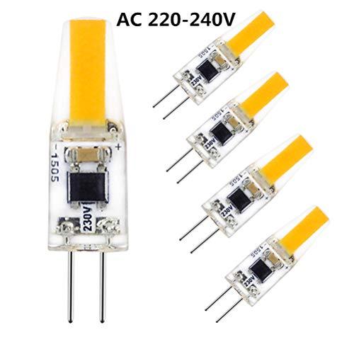 G4 LED 220V, Lampadina LED G4 2W Equivalente a 20W Lampada Alogena Bianco Caldo 2700K 200 Lumen, Confezione da 5