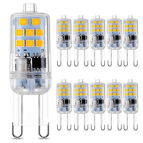 G9 LED Lampadine 3W Angolo di Fascio di 360 ° 300 Lumen Pari ad Alogene da 30W per l'illuminazione Lnterna 2700K-Bianco Caldo 10 Pezzi
