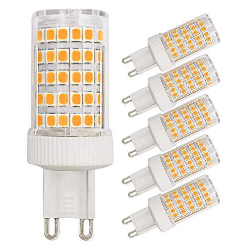 G9 LED Lampadine dimmerabili, 10 W equivalenti a 80 W luce bianca calda 3000K 800 lumen 220V angolo del fascio di luce 360°, a risparmio energetico, attacco G9 bi-pin (confezione da 5)